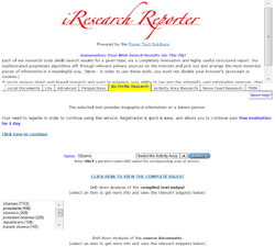 iResearch Report digest of a Web search related to President Obama, showing topic classifications, first lines of articles, and links to full documents